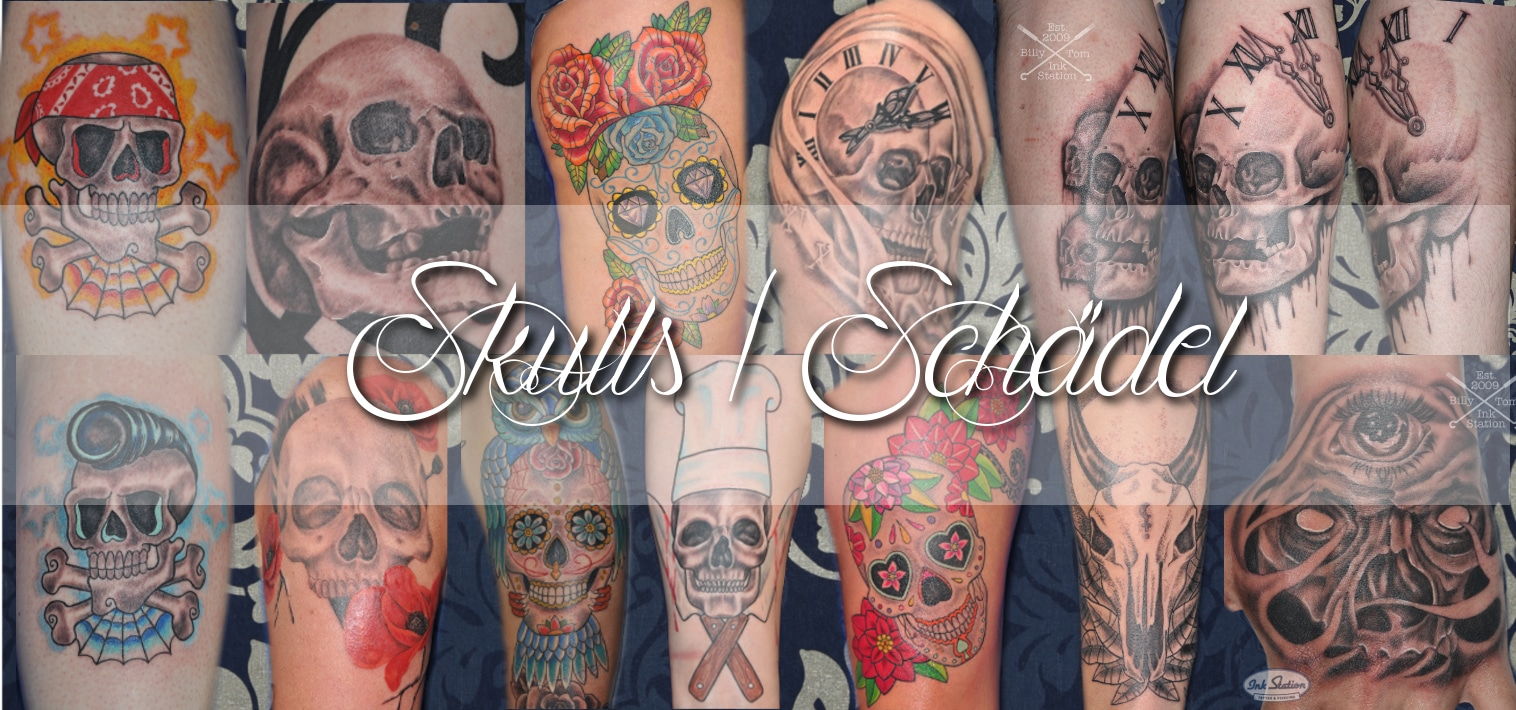 skulls schädel blackandgrey colored tattoo taetowierung stuttgart 0711 bestintown