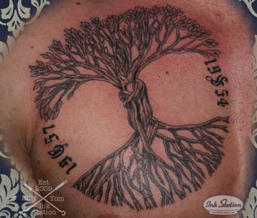 Blackandgrey tattoo stuttgart ink station 0711 inked fineline tree lebensbaum