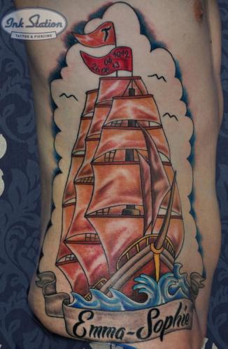 schiff rippen ship Old New School Tattoo Stuttgart Ink Station 0711 Colored (159)