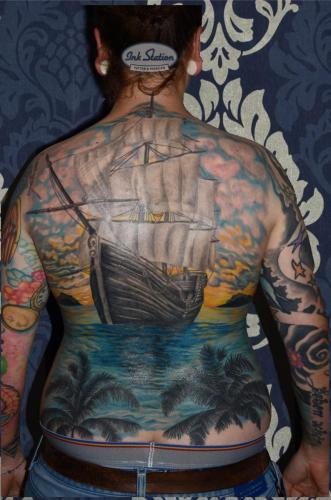 backpiece schiff ship Old New School Tattoo Stuttgart Ink Station 0711 Colored (176)