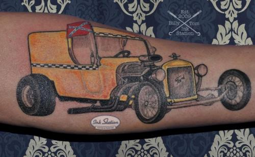 hot rod  auto ford  classic car Old New School Tattoo Stuttgart Ink Station 0711 Colored (60)