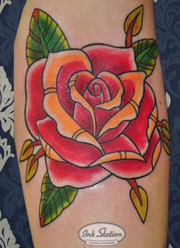 rose classic rose Old New School Tattoo Stuttgart Ink Station 0711 Colored (71)
