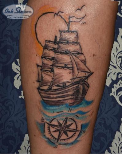 schiff Old New School Tattoo Stuttgart Ink Station 0711 Colored (79)