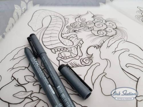 baku drawing asia Tattoo zeichnung stuttgart copic blackandgrey 0711 fineline inkstation asiaart (2)