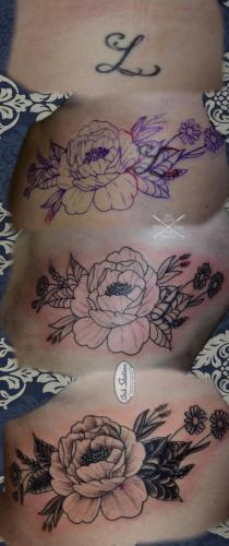 cover up rippen blumen pfingstrosen peony blackandgrey stuttgart tattoo inkstation 0711...