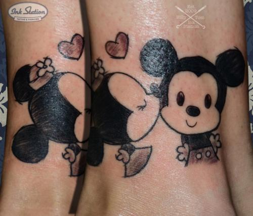 micky minnie mouse tattoo ink station 0711 tattooed comic love