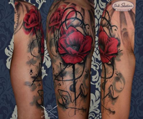 mohnblumen arm poppy mohn tattoo aquarell stuttgart 0711 inkstation (2)