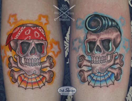 old school rockabilly schädel skull finline colored tattoo taetowierung stuttgart 0711 inked (1)