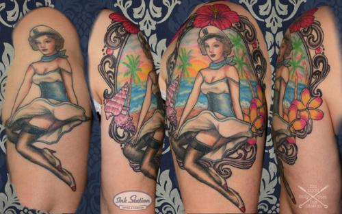 pin up anbau Tattoo stuttgart colored flowers 0711 fineline inkstation
