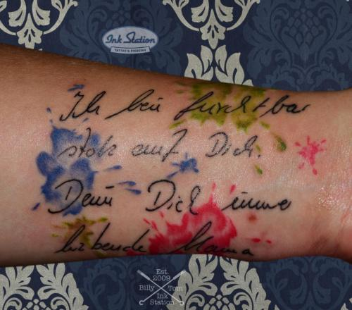 text watercolor Tattoo stuttgart taetowierung 0711 fineline inkstation inked