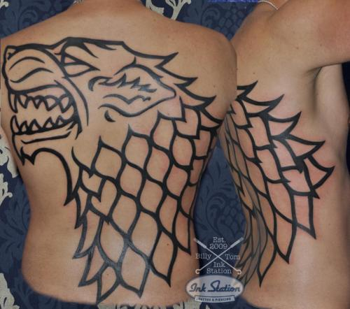 wolf tattoo game of thrones backpeace rücken tribal tattoo stuttgart ink station stuttgart taetowierung 0711 inked blackwork
